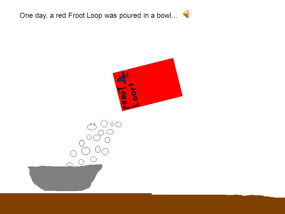 The Life of an Undigested Froot Loop Written and Illustrated By Braden Gilbert INFO: Press space bar when done with slide.