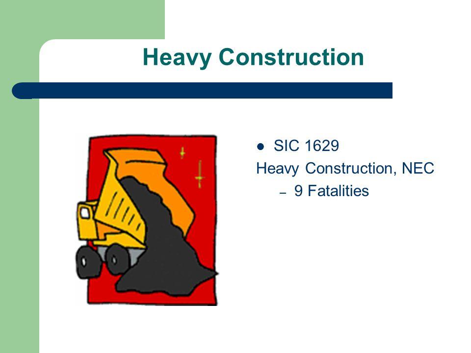Heavy Construction SIC 1629 Heavy Construction, NEC – 9 Fatalities