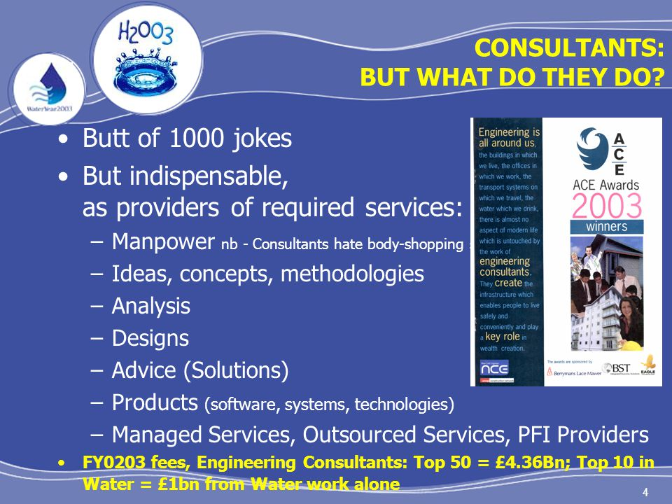 4 CONSULTANTS: BUT WHAT DO THEY DO? Butt of 1000 jokes But indispensable, as providers of required services: –Manpower nb - Consultants hate body-shop