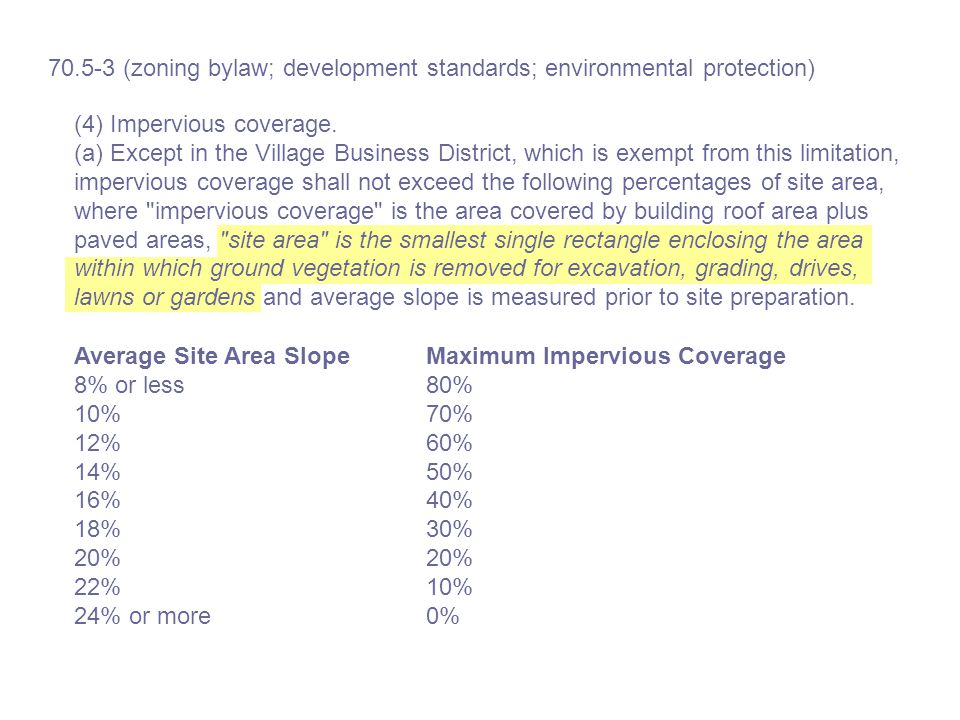 Average Site Area Slope 8% or less 10% 12% 14% 16% 18% 20% 22% 24% or more Maximum Impervious Coverage 80% 70% 60% 50% 40% 30% 20% 10% 0% 70.5-3 (zoning bylaw; development standards; environmental protection) (4) Impervious coverage.