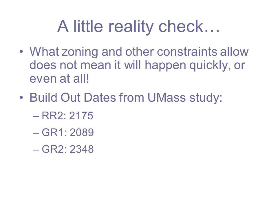 A little reality check… What zoning and other constraints allow does not mean it will happen quickly, or even at all.