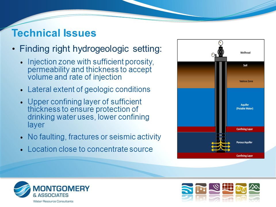 Technical Issues Finding right hydrogeologic setting: Injection zone with sufficient porosity, permeability and thickness to accept volume and rate of injection Lateral extent of geologic conditions Upper confining layer of sufficient thickness to ensure protection of drinking water uses, lower confining layer No faulting, fractures or seismic activity Location close to concentrate source