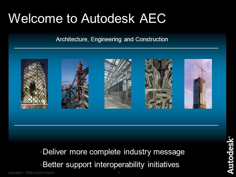 Autodesk – 2008 product family 6 Welcome to Autodesk AEC Architecture, Engineering and Construction  Deliver more complete industry message  Better support interoperability initiatives