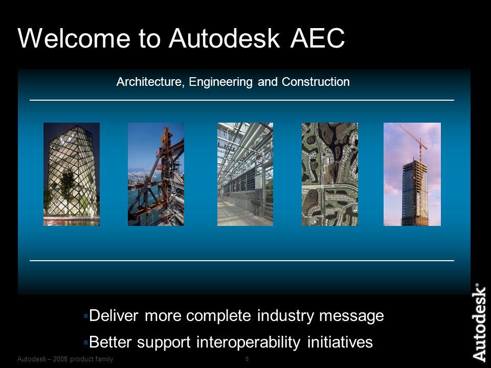 Autodesk – 2008 product family 7 The Best Technology CAD Complex Project Management BIM Dynamic Civil Modeling