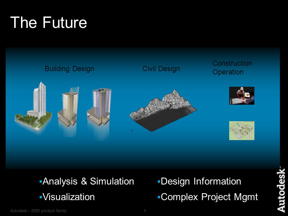 Autodesk – 2008 product family 8 The Future  Analysis & Simulation  Visualization  Design Information  Complex Project Mgmt Construction Operation