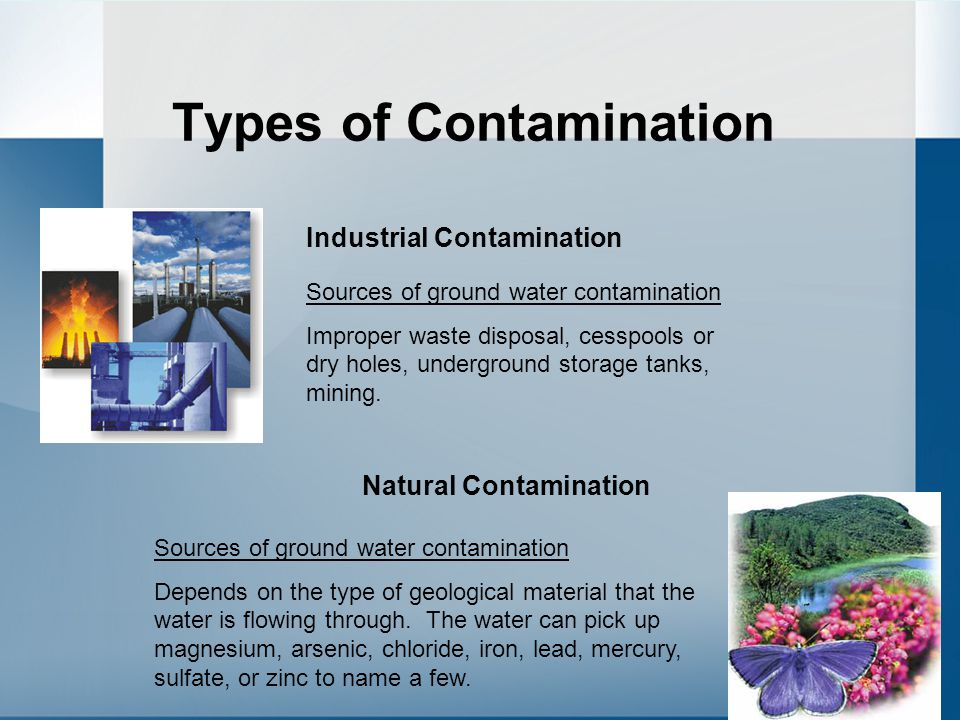 Types of Contamination Industrial Contamination Natural Contamination Sources of ground water contamination Improper waste disposal, cesspools or dry holes, underground storage tanks, mining.