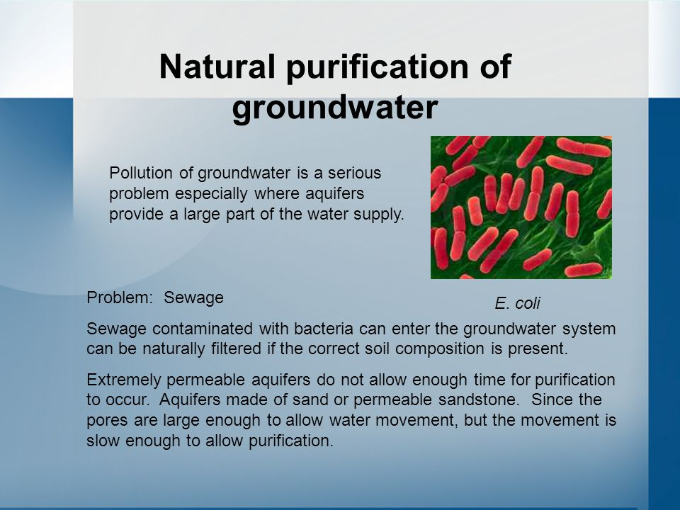 Natural purification of groundwater Pollution of groundwater is a serious problem especially where aquifers provide a large part of the water supply.