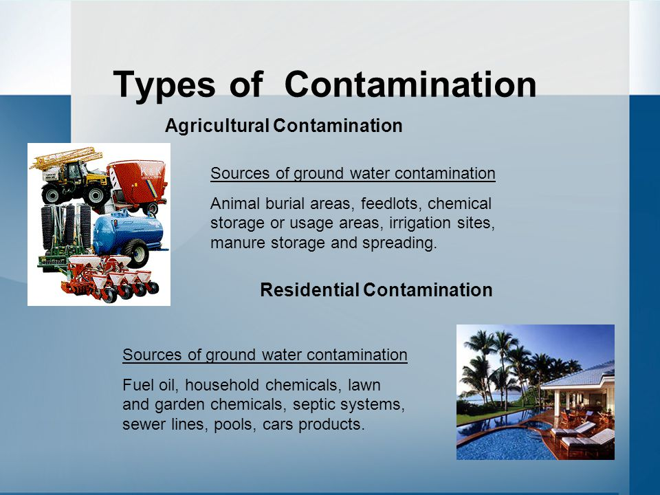 Types of Contamination Sources of ground water contamination Animal burial areas, feedlots, chemical storage or usage areas, irrigation sites, manure storage and spreading.