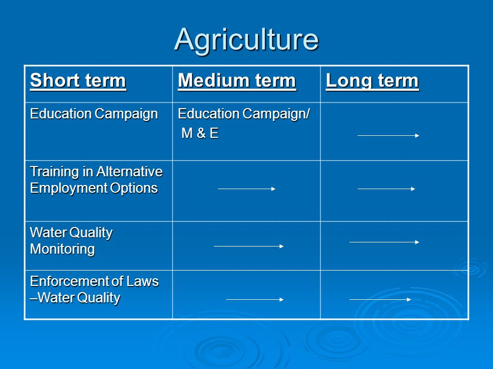 Agriculture Short term Medium term Long term Education Campaign Education Campaign/ M & E M & E Training in Alternative Employment Options Water Quali