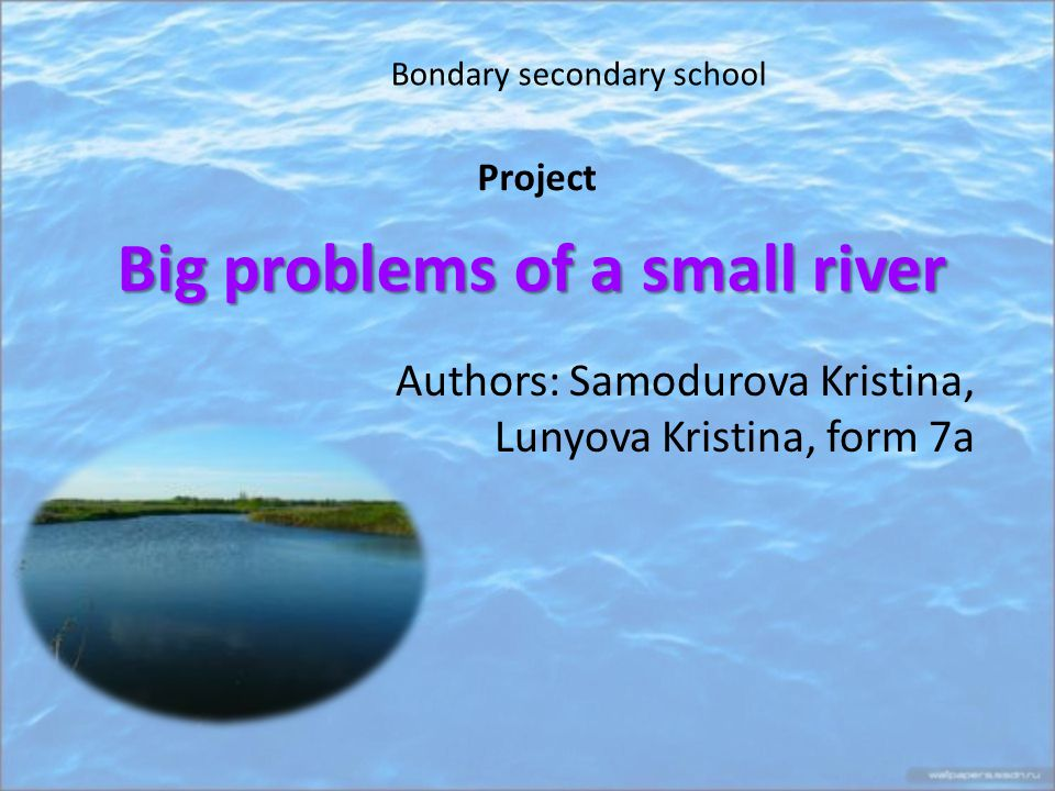 Big problems of a small river Authors: Samodurova Kristina, Lunyova Kristina, form 7a Bondary secondary school Project