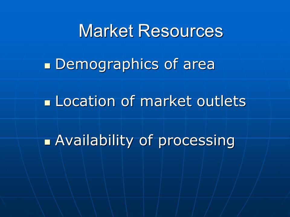 Market Resources Demographics of area Demographics of area Location of market outlets Location of market outlets Availability of processing Availability of processing