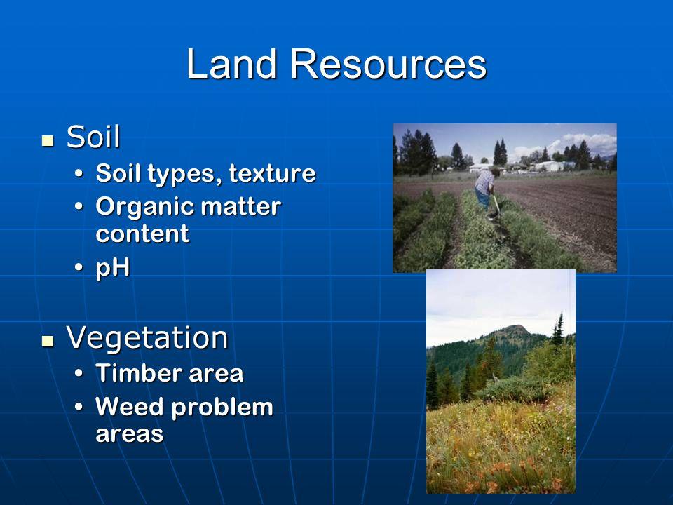 Land Resources Soil Soil Soil types, textureSoil types, texture Organic matter contentOrganic matter content pHpH Vegetation Vegetation Timber areaTimber area Weed problem areasWeed problem areas