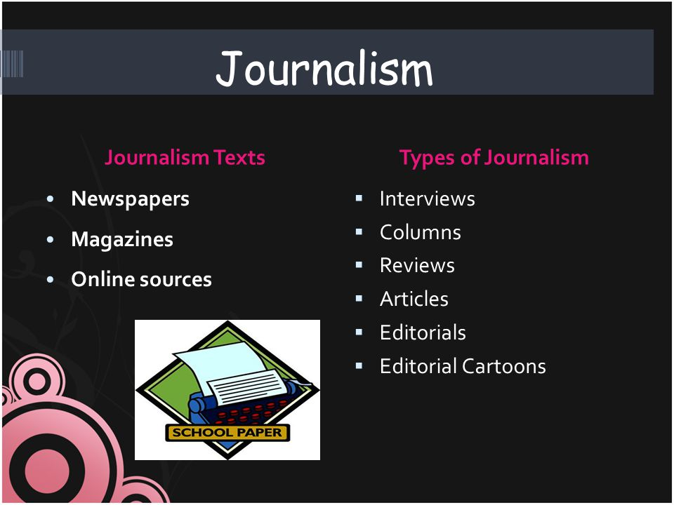 Journalism Journalism TextsTypes of Journalism Newspapers Magazines Online sources  Interviews  Columns  Reviews  Articles  Editorials  Editoria