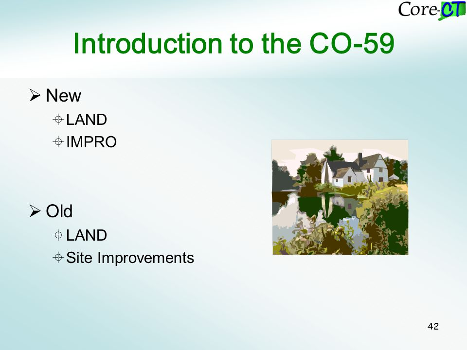 42 Introduction to the CO-59  New  LAND  IMPRO  Old  LAND  Site Improvements