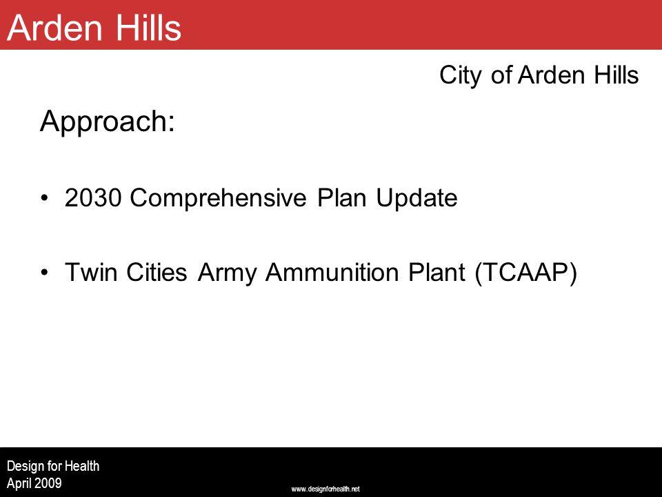 www.designforhealth.net Design for Health April 2009 Approach: 2030 Comprehensive Plan Update Twin Cities Army Ammunition Plant (TCAAP) City of Arden Hills Arden Hills