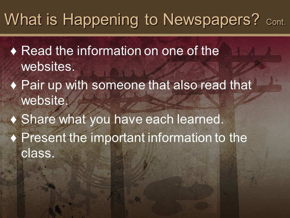 What is Happening to Newspapers. Cont. ♦Read the information on one of the websites.