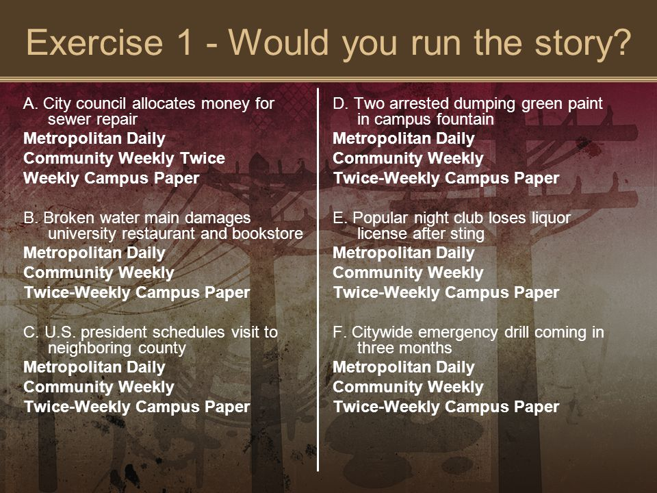 Exercise 1 - Would you run the story. A.