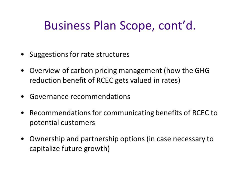 Business Plan Scope, cont'd.
