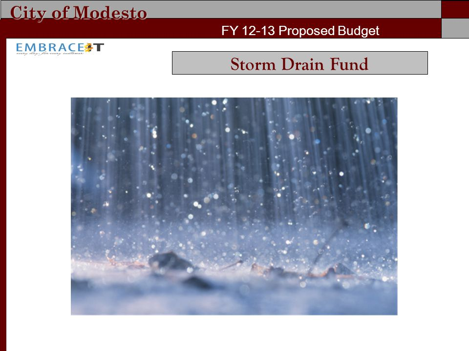 City of Modesto FY 12-13 Proposed Budget Storm Drain Fund