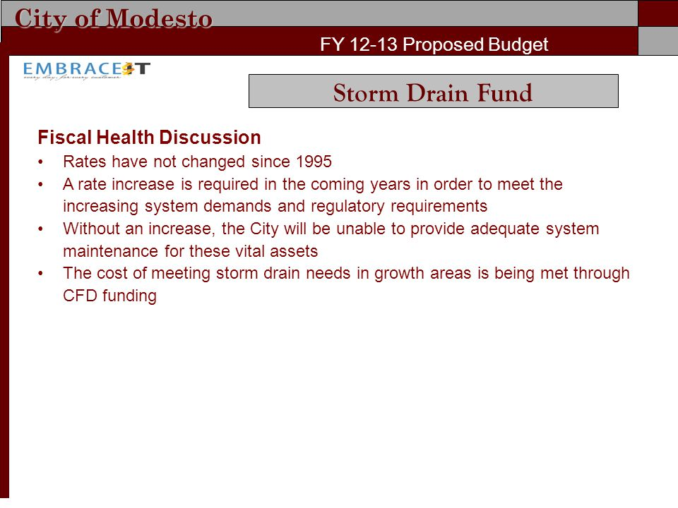 City of Modesto FY 12-13 Proposed Budget Fiscal Health Discussion Rates have not changed since 1995 A rate increase is required in the coming years in