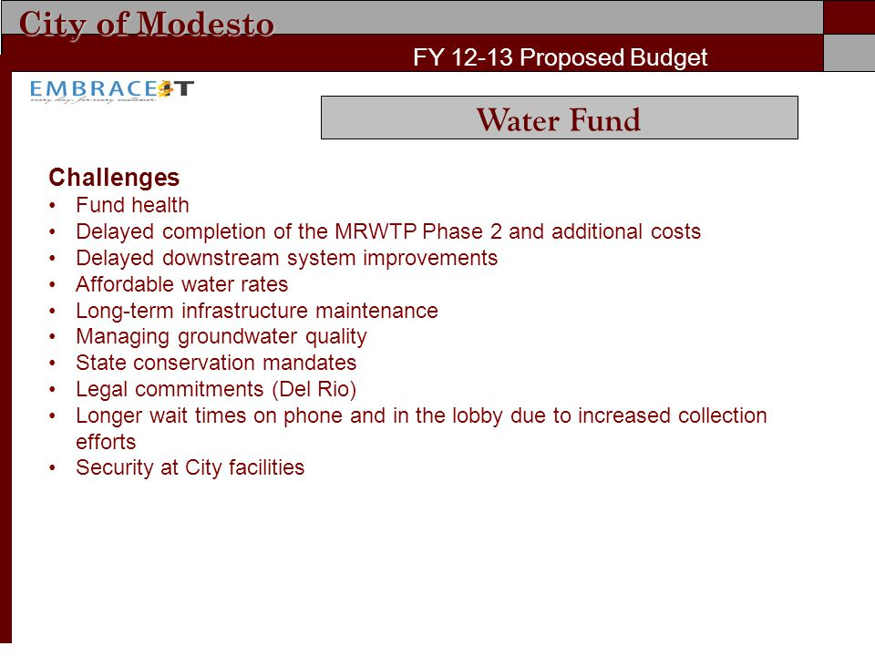 City of Modesto FY 12-13 Proposed Budget Challenges Fund health Delayed completion of the MRWTP Phase 2 and additional costs Delayed downstream system
