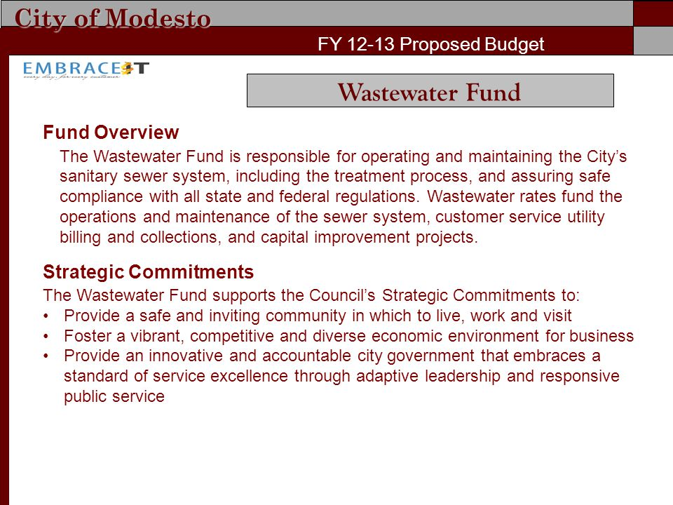 City of Modesto FY 12-13 Proposed Budget Fund Overview The Wastewater Fund is responsible for operating and maintaining the City's sanitary sewer syst