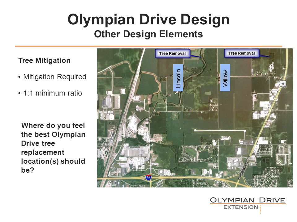 Olympian Drive Design Other Design Elements Tree Mitigation Mitigation Required 1:1 minimum ratio Where do you feel the best Olympian Drive tree replacement location(s) should be.