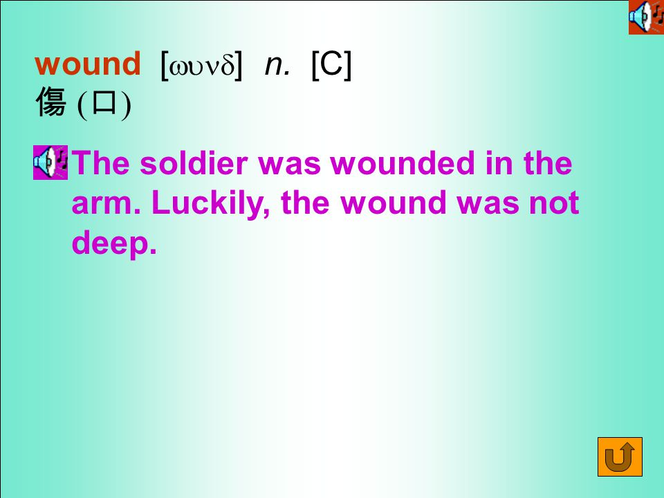 Words for Production 7.wound [wund ] vt.