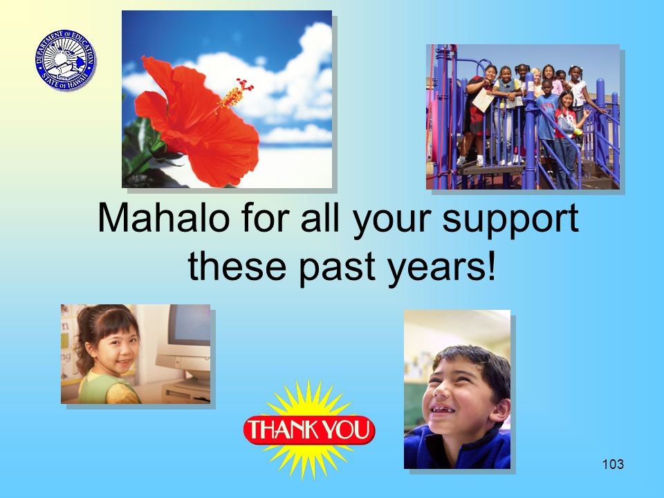 103 Mahalo for all your support these past years!