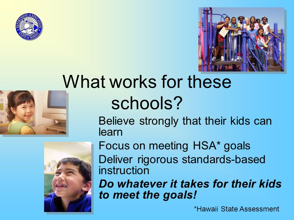 What works for these schools? Believe strongly that their kids can learn Focus on meeting HSA* goals Deliver rigorous standards-based instruction Do w