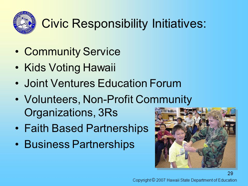 29 Civic Responsibility Initiatives: Community Service Kids Voting Hawaii Joint Ventures Education Forum Volunteers, Non-Profit Community Organization