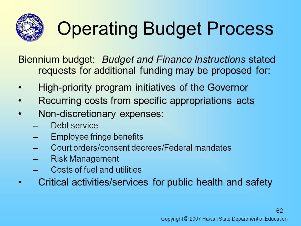 62 Operating Budget Process Biennium budget: Budget and Finance Instructions stated requests for additional funding may be proposed for: High-priority