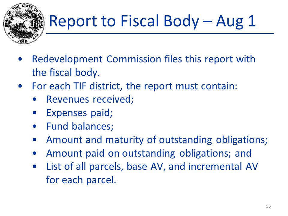 Report to Fiscal Body – Aug 1 Redevelopment Commission files this report with the fiscal body. For each TIF district, the report must contain: Revenue