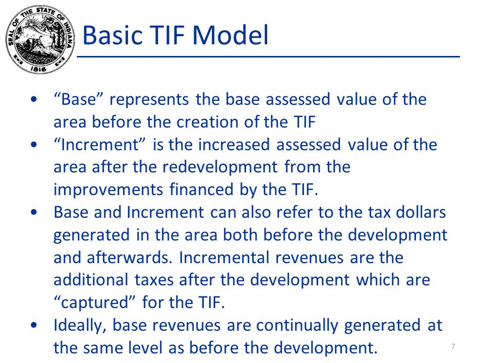 """Basic TIF Model """"Base"""" represents the base assessed value of the area before the creation of the TIF """"Increment"""" is the increased assessed value of th"""