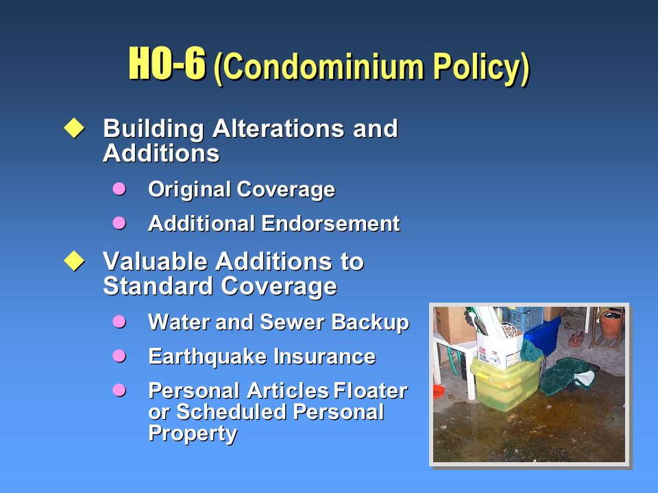 HO-6 (Condominium Policy) uBuilding Alterations and Additions lOriginal Coverage lAdditional Endorsement uValuable Additions to Standard Coverage lWater and Sewer Backup lEarthquake Insurance lPersonal Articles Floater or Scheduled Personal Property uBuilding Alterations and Additions lOriginal Coverage lAdditional Endorsement uValuable Additions to Standard Coverage lWater and Sewer Backup lEarthquake Insurance lPersonal Articles Floater or Scheduled Personal Property