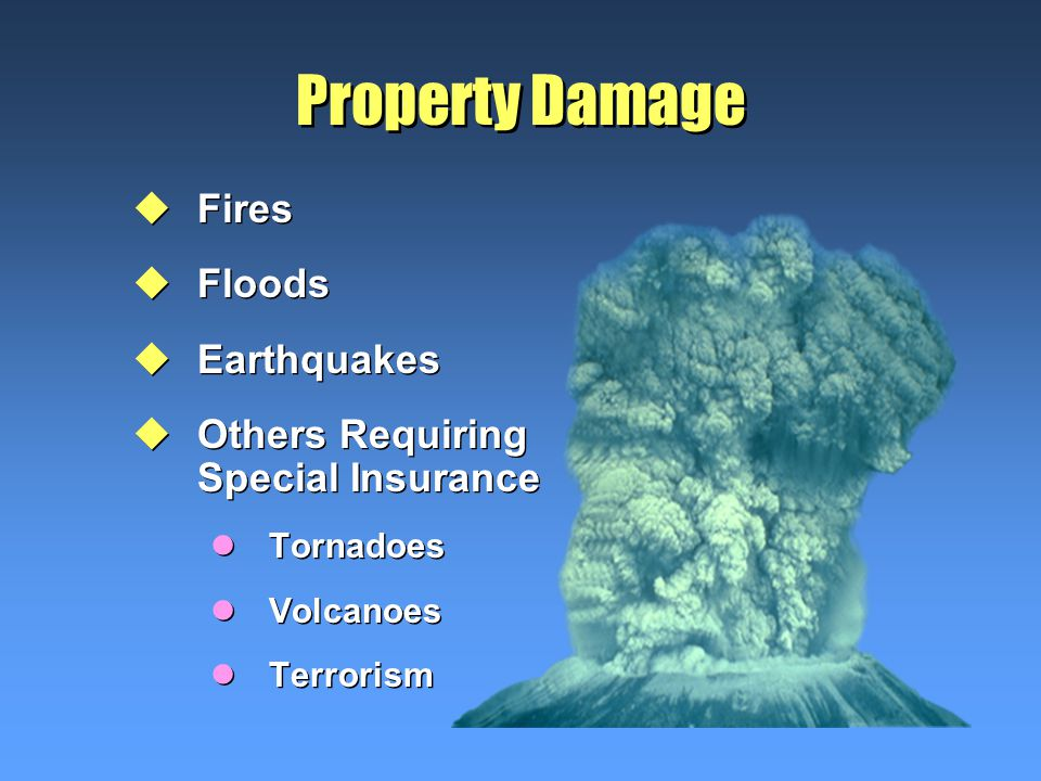 Property Damage uFires uFloods uEarthquakes uOthers Requiring Special Insurance lTornadoes lVolcanoes lTerrorism uFires uFloods uEarthquakes uOthers Requiring Special Insurance lTornadoes lVolcanoes lTerrorism
