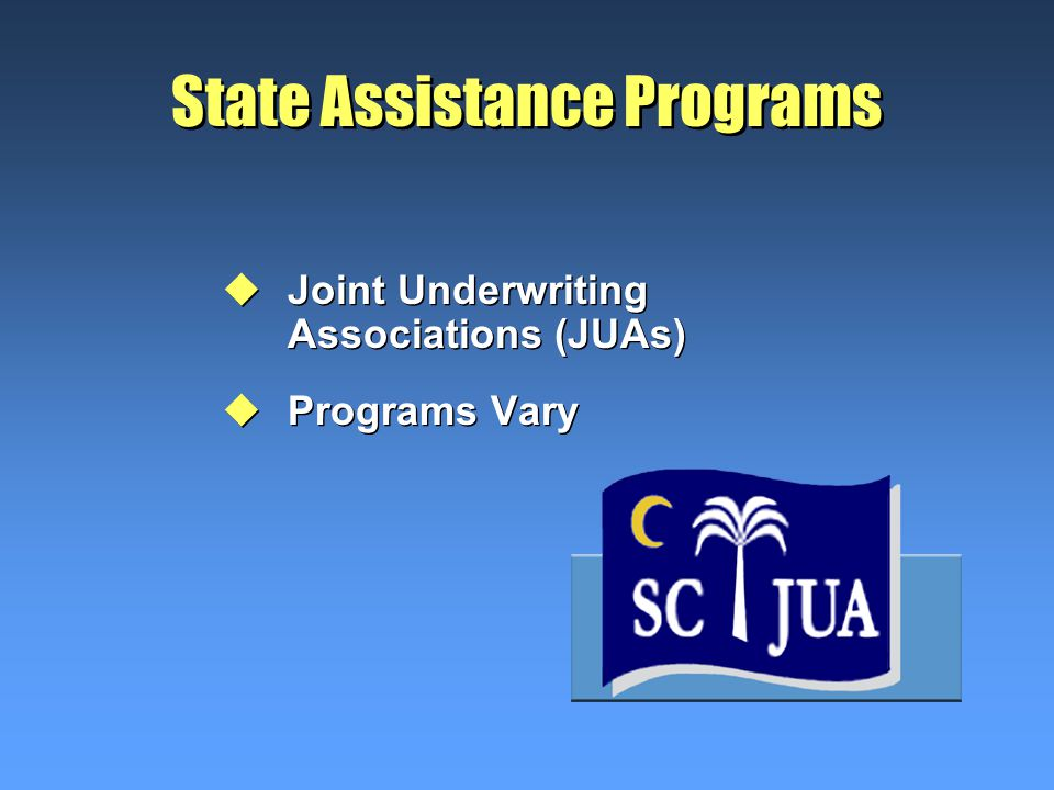 State Assistance Programs uJoint Underwriting Associations (JUAs) uPrograms Vary uJoint Underwriting Associations (JUAs) uPrograms Vary