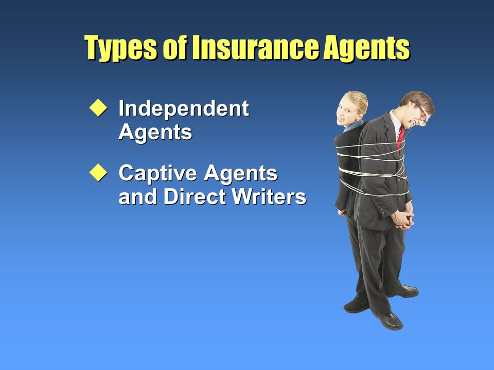 Types of Insurance Agents uIndependent Agents uCaptive Agents and Direct Writers uIndependent Agents uCaptive Agents and Direct Writers