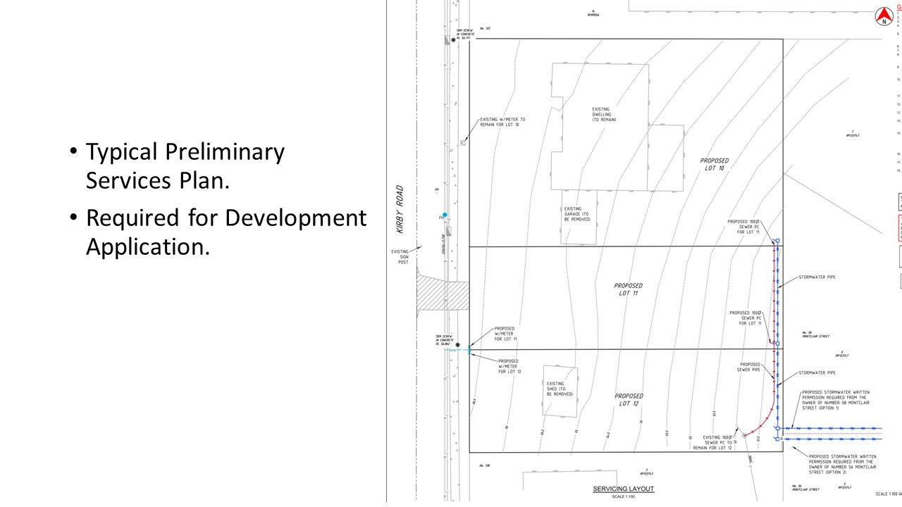Typical Preliminary Services Plan. Required for Development Application.