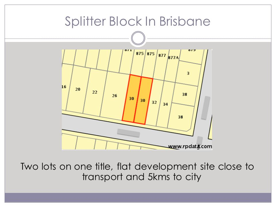 Splitter Block In Brisbane Two lots on one title, flat development site close to transport and 5kms to city