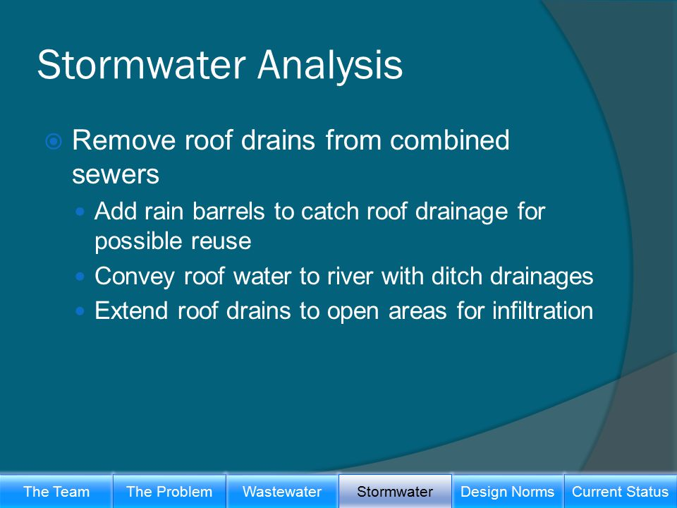 Stormwater Analysis  Remove roof drains from combined sewers Add rain barrels to catch roof drainage for possible reuse Convey roof water to river with ditch drainages Extend roof drains to open areas for infiltration The TeamWastewaterThe ProblemDesign Norms Stormwater Current Status