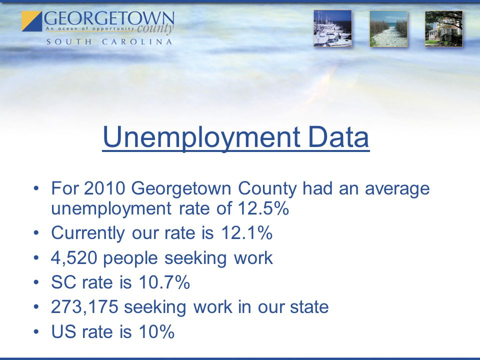 Unemployment Data For 2010 Georgetown County had an average unemployment rate of 12.5% Currently our rate is 12.1% 4,520 people seeking work SC rate is 10.7% 273,175 seeking work in our state US rate is 10% Source: SC Employment Security Commission