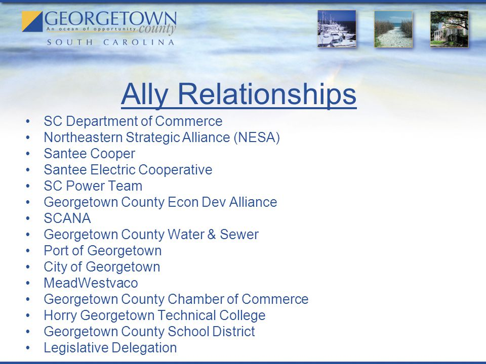Ally Relationships SC Department of Commerce Northeastern Strategic Alliance (NESA) Santee Cooper Santee Electric Cooperative SC Power Team Georgetown County Econ Dev Alliance SCANA Georgetown County Water & Sewer Port of Georgetown City of Georgetown MeadWestvaco Georgetown County Chamber of Commerce Horry Georgetown Technical College Georgetown County School District Legislative Delegation