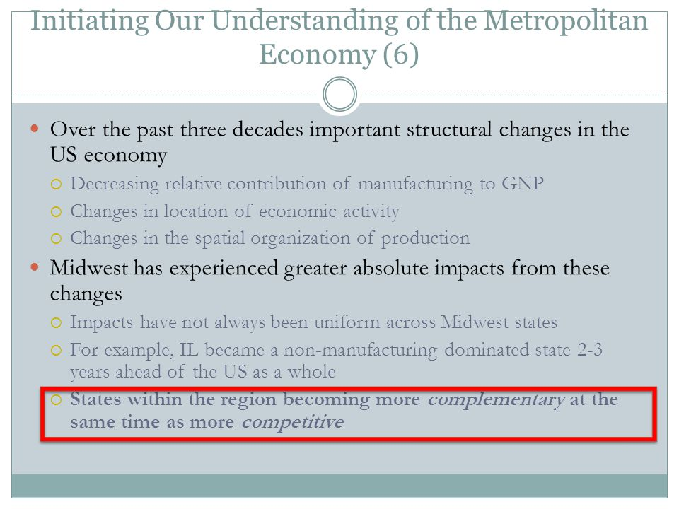 Initiating Our Understanding of the Metropolitan Economy (6) Over the past three decades important structural changes in the US economy  Decreasing relative contribution of manufacturing to GNP  Changes in location of economic activity  Changes in the spatial organization of production Midwest has experienced greater absolute impacts from these changes  Impacts have not always been uniform across Midwest states  For example, IL became a non-manufacturing dominated state 2-3 years ahead of the US as a whole  States within the region becoming more complementary at the same time as more competitive
