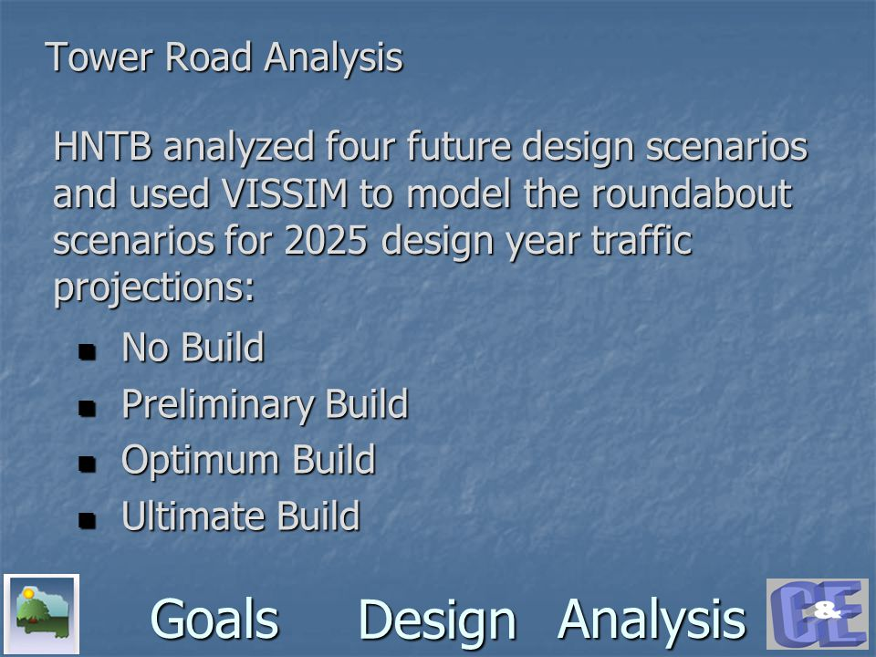 Design GoalsAnalysis Tower Road Analysis HNTB analyzed four future design scenarios and used VISSIM to model the roundabout scenarios for 2025 design year traffic projections: No Build No Build Preliminary Build Preliminary Build Optimum Build Optimum Build Ultimate Build Ultimate Build