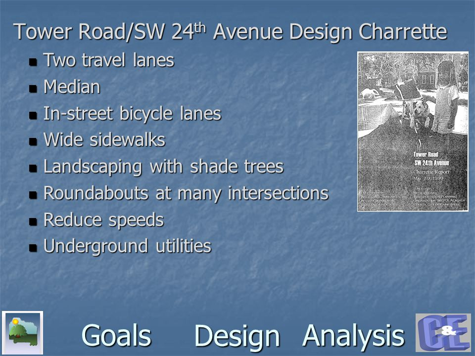 Design GoalsAnalysis Tower Road/SW 24 th Avenue Design Charrette Two travel lanes Two travel lanes Median Median In-street bicycle lanes In-street bicycle lanes Wide sidewalks Wide sidewalks Landscaping with shade trees Landscaping with shade trees Roundabouts at many intersections Roundabouts at many intersections Reduce speeds Reduce speeds Underground utilities Underground utilities