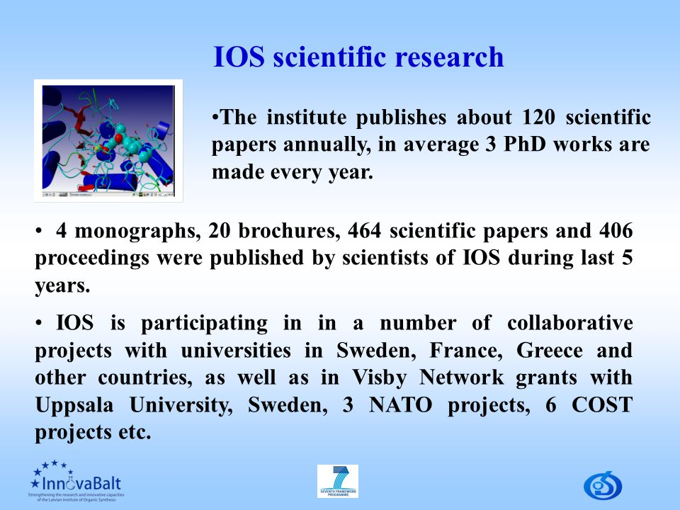 4 monographs, 20 brochures, 464 scientific papers and 406 proceedings were published by scientists of IOS during last 5 years.