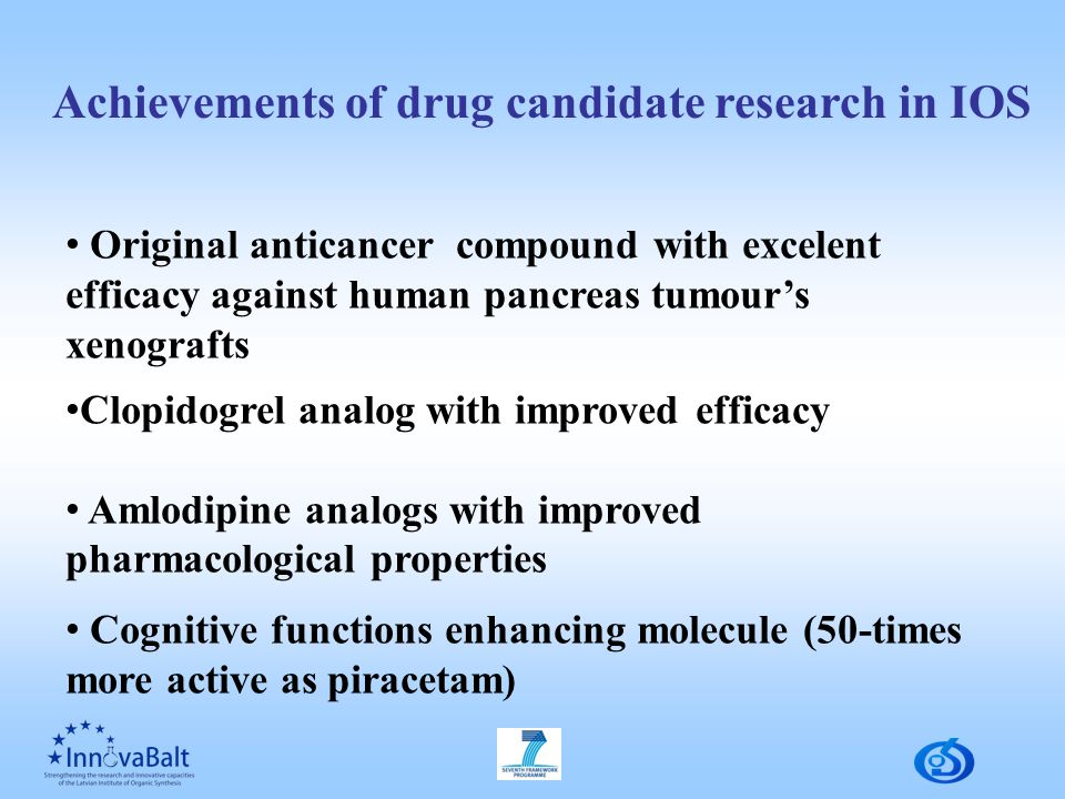Achievements of drug candidate research in IOS Original anticancer compound with excelent efficacy against human pancreas tumour's xenografts Clopidogrel analog with improved efficacy Amlodipine analogs with improved pharmacological properties Cognitive functions enhancing molecule (50-times more active as piracetam)
