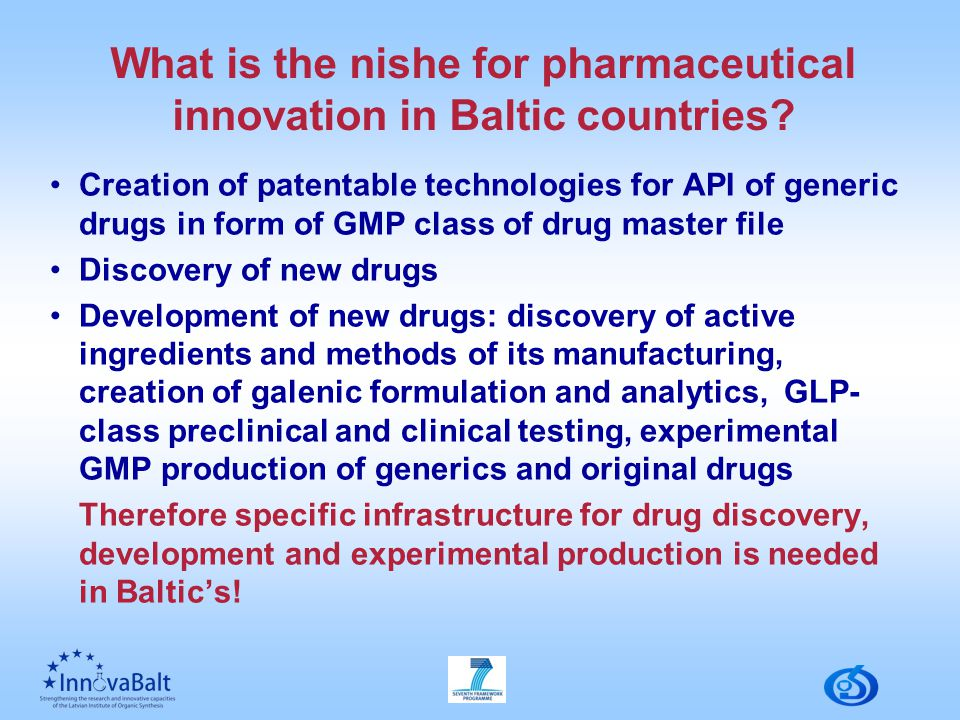 What is the nishe for pharmaceutical innovation in Baltic countries.