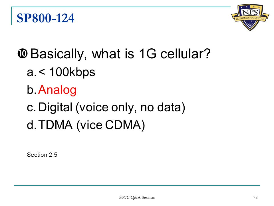 SP800-124  Basically, what is 1G cellular.